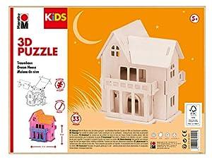 Marabu 0317000000012 Kids 3D - Puzzle de Madera (33 Piezas), diseño de casa de ensueño 16 x 20 cm, Color marrón