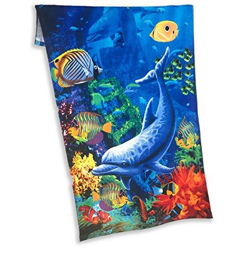 Tex family telo mare fotografico in spugna misura grande cm.86x160 acquario delfino