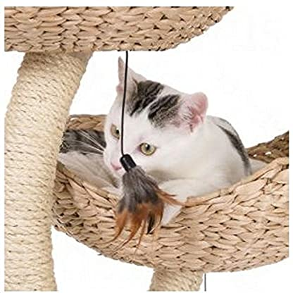 Chic Flower-Shaped Cat Tree With Thick Sisal-Wrapped Metal Pillars And Woven Platforms- Sturdy Scratching Posts… 9