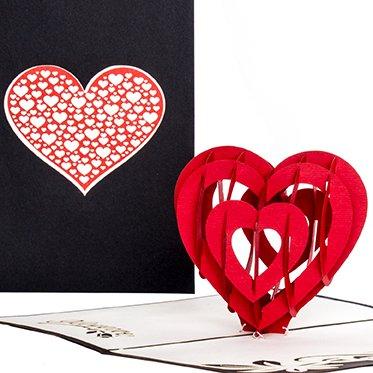 """Pop Up Karte""""Herzkarte - I Love you"""" Liebesgruß, Verlobungskarte,Valentinskarte, Geburtstagskarte, Hochzeitskarte, 3D Karte, Valentinstag, Liebe, Verlobung, Hochzeit"""