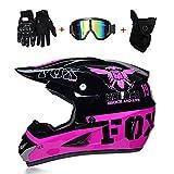 LETU Motorrad Motorrad Motocross Helme & Gloves & Goggles D.O.T Standard Children Quad Bike ATV Go Karting Helm Pink Eagle,M57~58CM