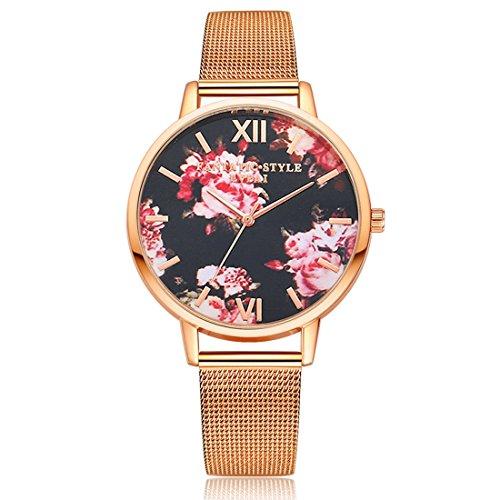Homim Damen Armbanduhr Bunt Blumen Römische Ziffern Zifferblatt Rosegold Farbe Mesh Edelstahl Armband Analog Frauen Batterie Quarzuhr Uhrwerk