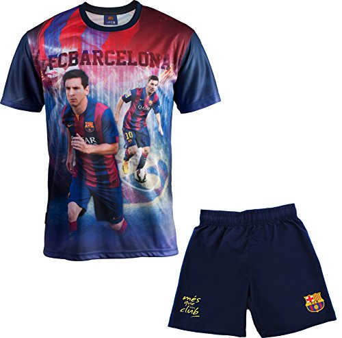 Fc Barcelone Ensemble Maillot + Short Barça - Lionel Messi - Collection Officielle Taille Enfant garçon