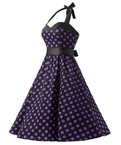 Dresstells Version3.0 Vintage 1950's Audrey Hepburn pin-up robe de soirée cocktail, style halter années 50 à pois Noir-Pourpre