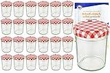 MamboCat 25er Set Sturzgläser 230 ml Hoch Deckelfarbe rot weiß kariert To 66 inkl. Diamant Gelierzauber Rezeptheft, Marmeladengläser, Einmachgläser, Einweckgläser, Gläser