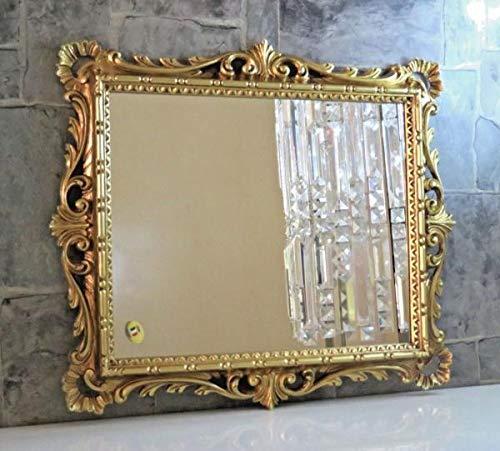 Artissimo specchio da parete dorato, ornamentale, barocco, specchio da parrucchiere, specchio da specchio, 43 x 37 cm