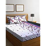 Bombay Dyeing Breeze Beautiful And Elegant Blue Color Modern Print 140 TC Cotton Double Bedsheet With 2 Pillow Covers