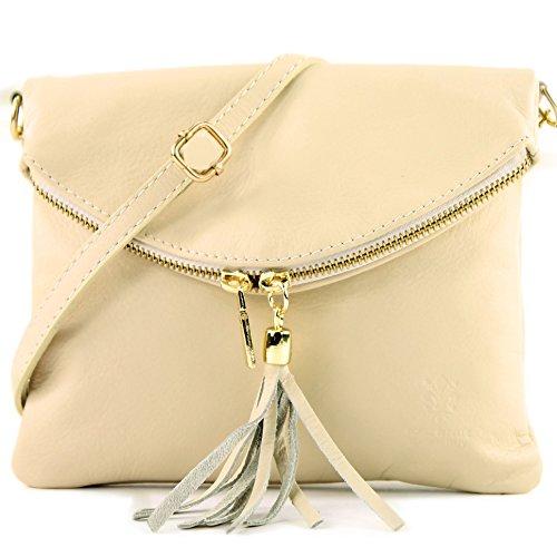 borsa di pelle ital. pochette pochette borsa tracolla Ragazze T139 piccola pelletteria T139A Elfenbein