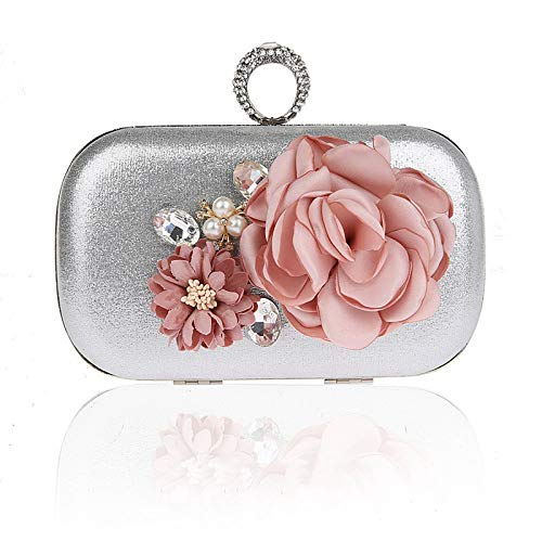 LFGCL Hot Spring New Evening Bag Borsa Banchetto Fiore Borsa Borsa Anello, Pochette d'Argento