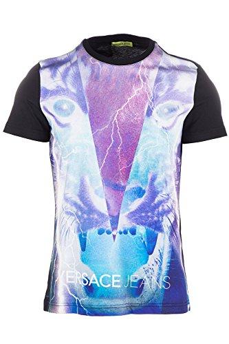 Versace Jeans t-shirt maglia maniche corte girocollo uomo mercury slim nero EU M (UK 38) B3GOA7B6 PRINT17