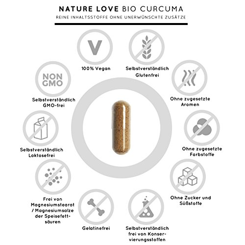 Bio Curcuma (Kurkuma) Kapseln mit 3000 mg pro Tagesdosis – 180 Stück im Monatsvorrat. Zertifiziert Bio. Mit Piperin aus Bio schwarzem Pfeffer. Frei von Zusatzstoffen wie Gelatine oder Magnesiumstearat. Laborgeprüft, mit von Natur aus hohem Curcumin Gehalt. Hochdosiert, vegan und hergestellt in Deutschland - 4