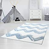 carpet city Kinder- und Jugendteppich Hochwertig Bueno mit Zickzack-Muster/Chevron in Blau, Weiß, Grau mit Glanzgarn für Kinder- und Jugendzimmer Größe 120/170 cm