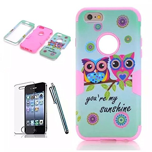 iPhone 6 Case Sunsline Owls, iPhone 6 4.7 Case, i6 Cover, Lantier 3 in 1 Combo Tuff Hybrid Armor Shockproof Cover Skin Protective Case for iPhone 6 4.7inch/Pink Sunsline Owl Pink