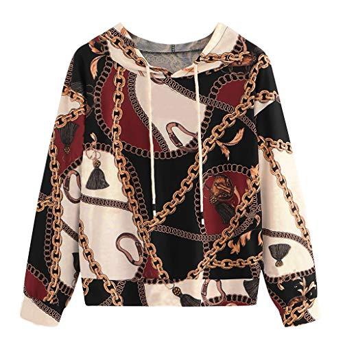 Lenfesh Kapuzenpullover Hoodie Damen Sweatshirt Pulli Brauner Pullover Rundhalsausschnitt Sweater Sportlicher Stil Casual Sport Shirt Oberteile mit Tie Back
