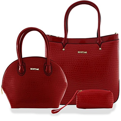 BDSTAR 3 PIECE GLOSSY CROCODILE SKIN PRINT PATENT LEATHER DESIGNER BAG RED