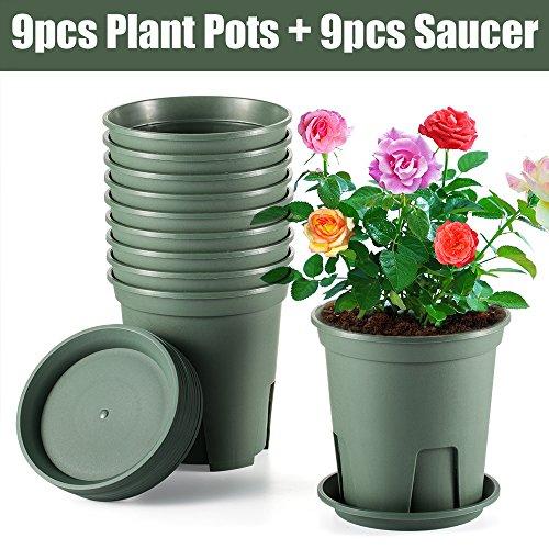 XHJD Pflanze Blumentöpfe 18Stück ca. 1Liter Premium Kunststoff Kinderzimmer Blumentopf, Container mit Untertasse für Büro Indoor Outdoor Garten Küche -