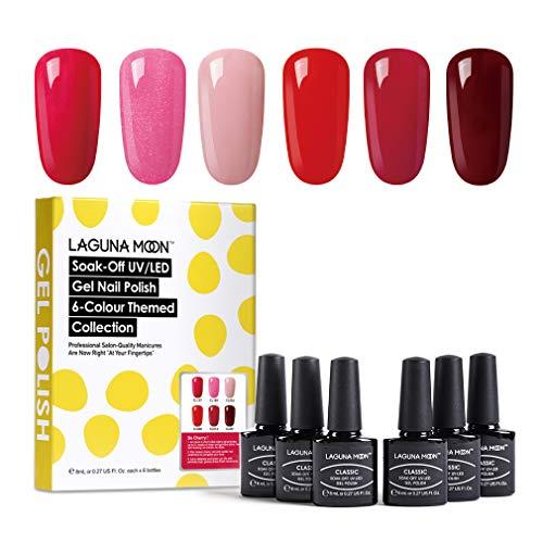 Lagunamoon UV Nagellack, Gel Nagellack UV LED 6 Farben Set für Nageldesign Gel Polish Soak off Gel...