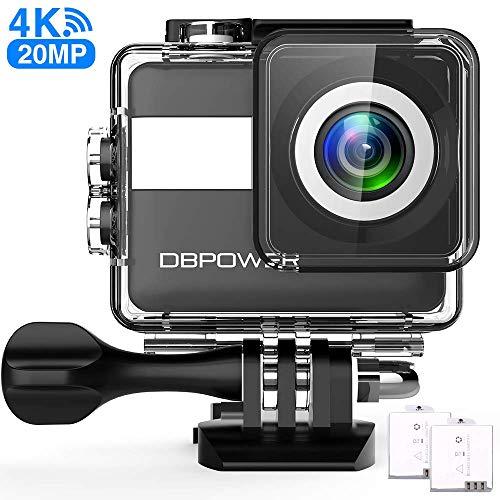 DBPOWER N6 Action Cam HD 4K 20MP WiFi Con Microfono Esterno Touch Screen Impermeabile 30M Sott\'acqua Fotocamera con EIS Stabilizzazione Videocamera 170° Grandangolare Time Lapse/2 Batterie 1200mAh