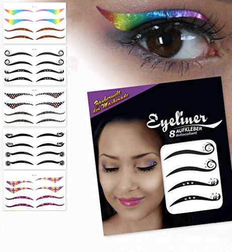 KarnevalsTeufel Eyeliner-Aufkleber Verschiedene Designs (Model 1) (Verschiedene Eyeliner)