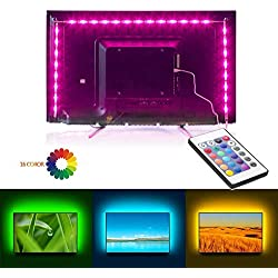 Rétroéclairage TV LED, 2M USB 5050 Bande LED Bias Lighting avec un Contrôleur, 16 couleurs et 4 mode dynamique pour 40 à 60 pouces HDTV, Moniteur PC