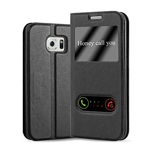 Cadorabo Hülle für Samsung Galaxy S6 Edge - Hülle in KOMETEN SCHWARZ - Handyhülle im Standfunktion & 2 Fenstern (View Design) - Case Cover Schutzhülle Etui Tasche Book Klapp Style