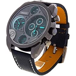 Montre Concept - men's Analog Watch Ernest - Turquoise Synthetic Strap / Bracelet - Round Dial Black Background