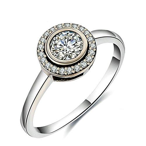 Gnzoe Schmuck S925 Sterling Silber Damen Ringe Verlobungsringe Rund Cubic Zirkonia Gr.54 (17.2) (Titanum Verlobungsring)