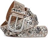 styleBREAKER Nietengürtel im Vintage Design mit echtem Leder, verschiedenen Nieten und Strass, kürzbar, Damen 03010051, Farbe:Antik-Beige;Größe:90cm