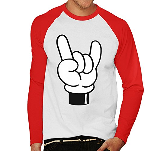 Disney Mickey Mouse Hands Devil Horns Rock N Roll Sign Men's Baseball Long Sleeved T-Shirt White/Red