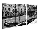 Leinwandbild 3 Tlg Rialto-Brücke Venedig Italien Boot Gondel Schwarz weiß Leinwand Bild Bilder Holz gerahmt 9U510, 3 tlg BxH:120x80cm (3Stk 40x 80cm)