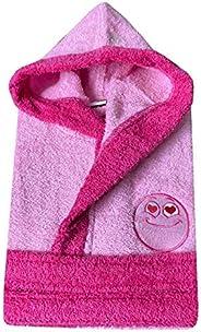 Accappatoio spugna Bambino Bambina 100% Cotone Con cappuccio, Tasche e Cintura ricamo Smile fucsia, rosa, azzu