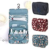 #8: KANTHI Toiletry Bag Multifunction Cosmetic Bag Portable Makeup Pouch Waterproof Travel Hanging Organizer Bag for Women Girls, Wine Flowers