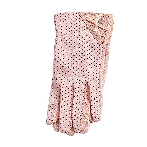 Lmeno 1 Paar Sommer Damen Driving-Handschuhe Sonne UV-Schutz Lace Dots Fäustlinge im Freien Baumwolle Touchscreen/Ohne Touchscreen Optional
