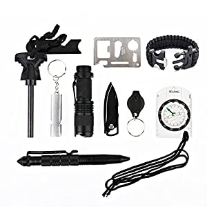 LANMING 10 in 1 Selbsthilfe Außen Survival Kit Set Notfall Self Help Sport Camping Wandern Werkzeuge Box Set : Feuer-Starter, Taschenlampe , Survival-Armbändern,Multi-Tool-Karte, Kompass,Tactical Pen,Survival Whistle,Key Chain Light ,Wasserdichte Surv
