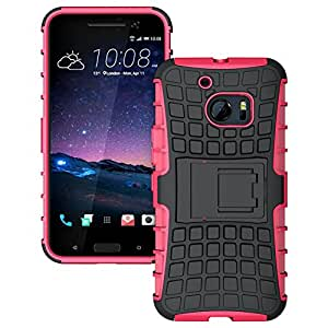 HTC 10 - Stylish Heavy Duty Hard Back Armor Shock Proof Case Cover with Back Stand Feature & Free Screen Protector by Accessories Collection