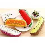 MK 1 Pcs Creative Fruit Shape Pencil Cases,PU Material With Zipper, Pouch Pencil Bag Assorted Colors