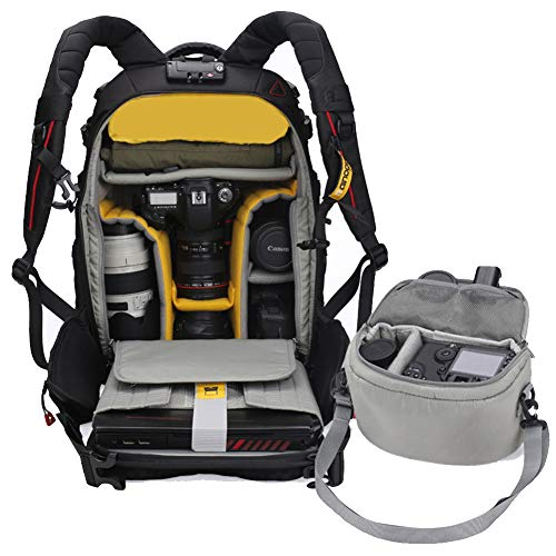 LXYIUN DSLR Kamera-Rucksack,Kamera Fotorucksack für Canon Nikon Sony SLR Spiegelreflexkamera mit Regenschutzhülle Reise Sport Schwarz