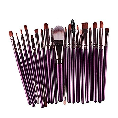 Drawihi Kit Pinceau Maquillage Brosse de Pinceau Professionnel Ombre à Paupières Pinceau 20 Pcs(Violet + Café)