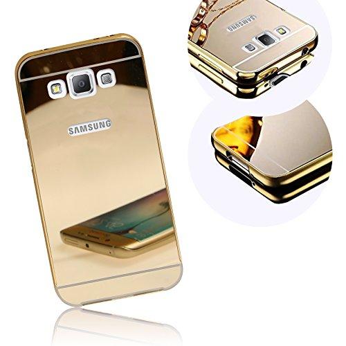 Xtra-Funky Hülle Kompatibel mit Samsung Galaxy A5 (2015 Model), Ultradünne Aluminium Metallrahmen Stoßfänger mit glänzenden Spiegelrückwand Harte Fall - Gold Galaxy Juwelen