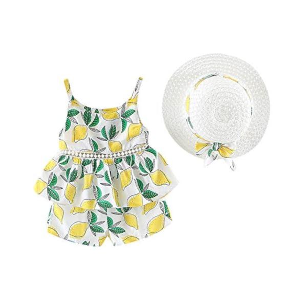Trisee Chicas Trajes de Verano Trajes Florales para bebés Honda Camisetas sin Mangas sin Mangas, Pantalones y Conjunto… 1