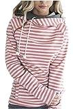 Zaywind Damen Gestreift Pulli Kapuzenpullover Reißverschluss Hoodie Sweatshirt Sport Langarm Pullover Outwear Jacke