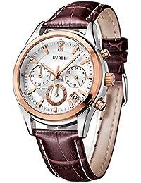 BUREI mujeres hombres Classic Sports cronógrafo relojes con banda de piel color marrón y esfera blanca