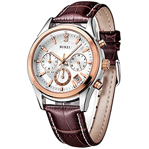 BUREI Men's Rose Gold Chronograph Watches with Date Analogue Stainless