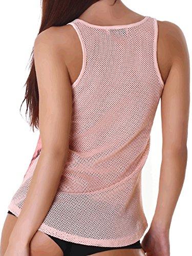Jela Damen Top Shirts Netzshirt Tanktop elegant Sommer Party locker Schwarz Ausschnitt Rosa