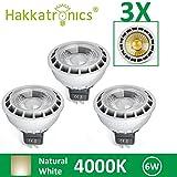 Hakkatronics 3× 6W LED COB MR16 Leuchtmittel Strahler Spot Neutralweiß 4000K DC12V