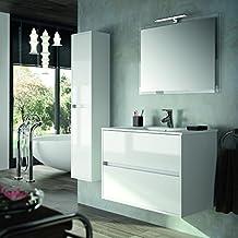 Conjunto de Mueble de Baño NEJAR - 80 cm - Blanco Alto Brillo. Con Lavabo, Espejo y Aplique Led.