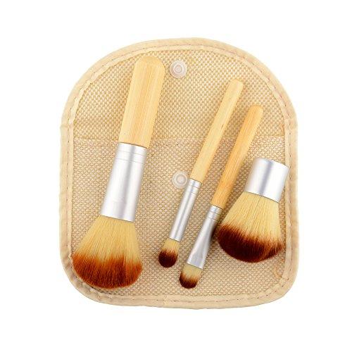 Kit de 4PCS Pinceaux Maquillage (pour le teint et les yeux) les yeux très doux avec un manche bambou Pinceau Professionnel & une éponge à fond de teint Avec un sac brun