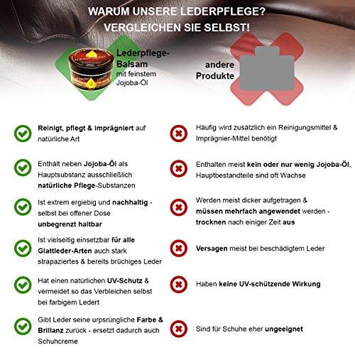 Lederpflege-Balsam mit Jojobaöl, natürliche Leder-Reinigung, -Pflege und Imprägnierung für alle Glattleder-Arten, tierversuchsfreies Produkt - 5