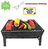 Tragbarer Mini Grill inkl. Grillzange von MAHEMA VEGGIE Geeignet Holzkohlegrill tragbar, BBQ Grill faltbar Festivalgrill klappbarer Grill