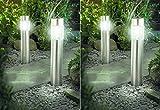 4er Set Solar Gartenleuchten mit Bewegungsmelder Metall Glas rund - Solarlampe LED Solarleuchte Wegeleuchte XXL 56cm Edelstahl mit Bewegungsmelder - sehr hochwertig verarbeite Solarleuchte Edelstahl mit Bewegungsmelder - Außenleuchte mit Bewegungsmelder - Wegeleuchte Edelstahl mit Bewegungsmelder und super brite LEDs